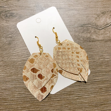Rose Gold Snakeskin Layered Fringe Leather Earrings