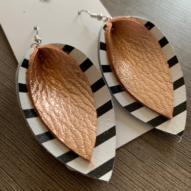 Black White Rose Gold Double Petal Leather Earrings