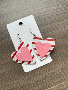 Red Striped Pink Valentine Heart Leather Earrings