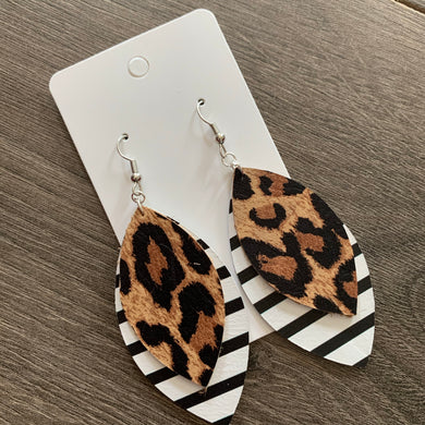 Double Leaf Striped Animal Print Leather Earrings