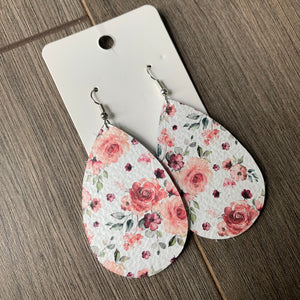 White and Pink Floral Teardrop Leather Earrings