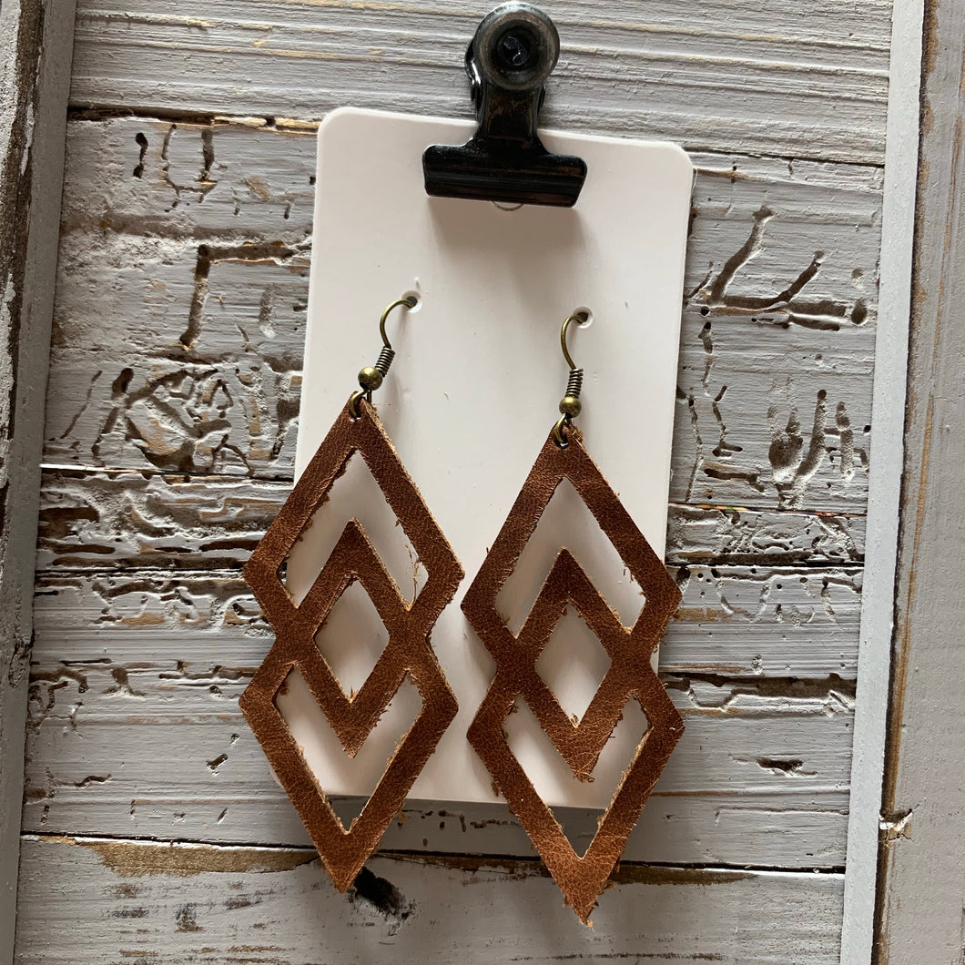 Brown Double Diamond Leather Earrings