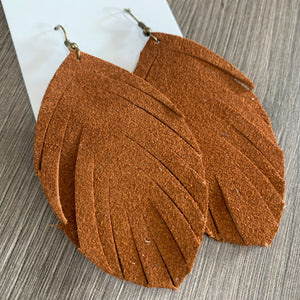 Brown Suede Fringe Leather Earrings
