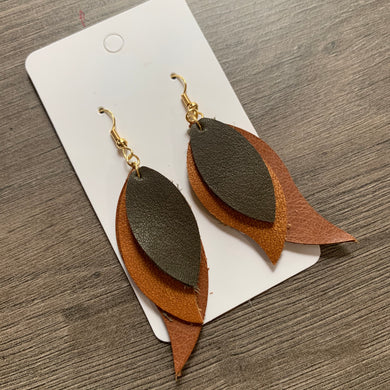 Fall Twirl Leather Earrings