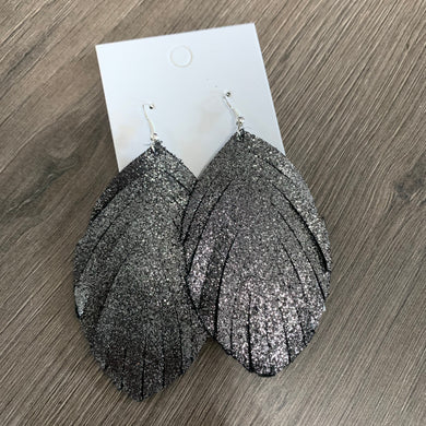 Large Silver and Black Fringe Leather Earrings