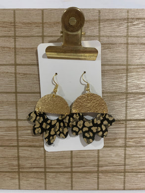 Black and Gold Drop Leather Earrings