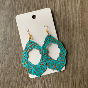 Mint and Gold Moroccan Leather Earrings