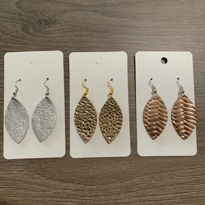 Mini Metallic Leaf Leather Earrings Set