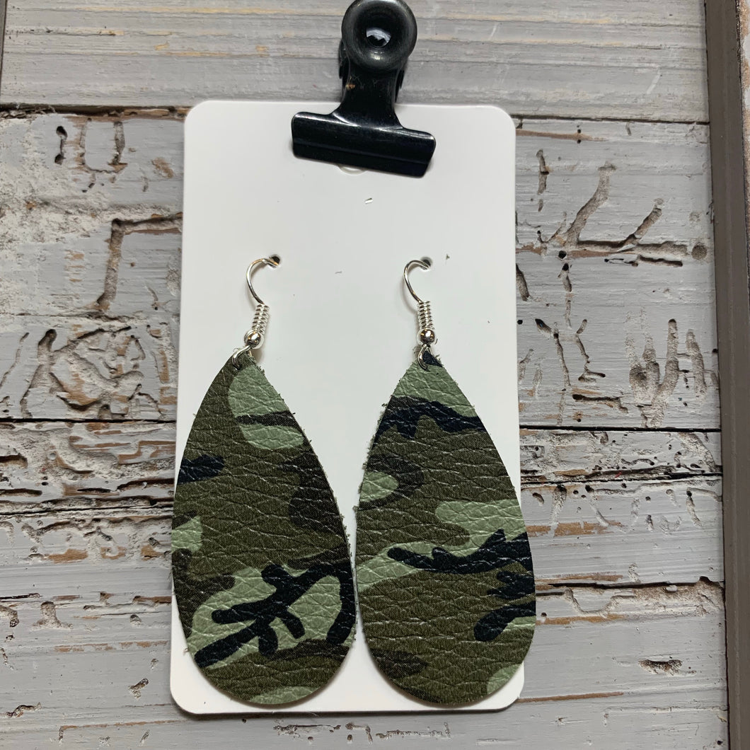 Small Camo Teardrop Leather Earrings