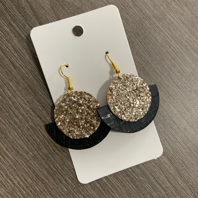 Gold Glitter and Black Circle Cork Leather Earrings