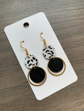 Black and Gold Small Circle Drop Earrings