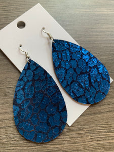 Blue Leopard Teardrop Leather Earrings