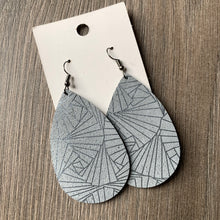 Silver and Pewter Large and Classic Teardrop Leather Earrings