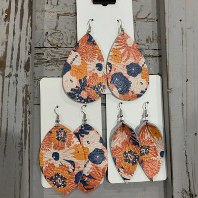 Navy and Orange Floral Leather Earrings