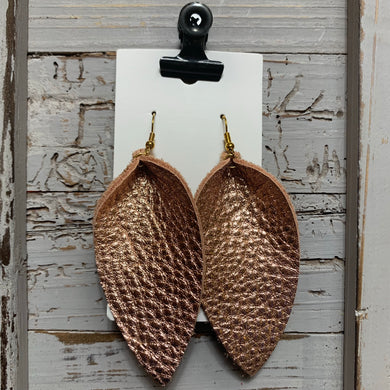 Rose Gold Long Petal Leather Earrings
