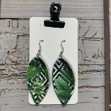 Green and Black Small Petal Leather Earrings