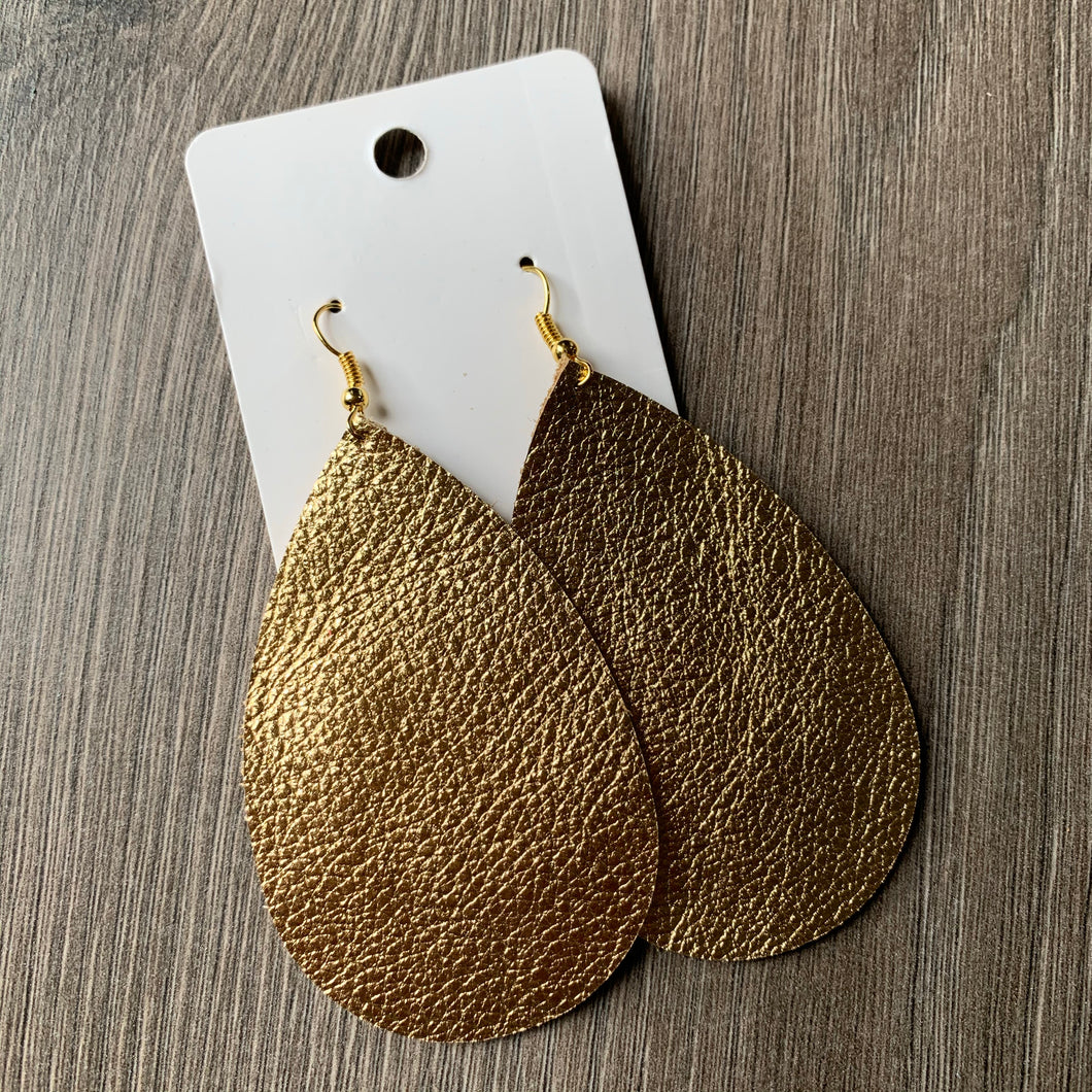 Large Gold Metallic Teardrop Leather Earrings
