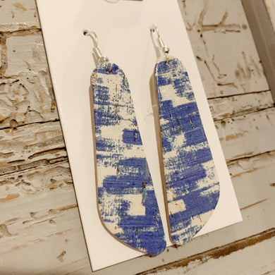Blue and White Cork Small Oblong Leather Earrings
