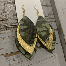 Triple Wide Fringe Gold and Camo Leather Earrings