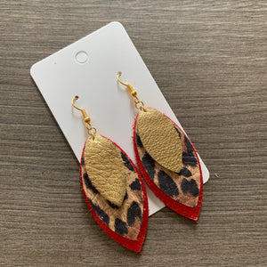 Red Animal Print Gold Valentines Leaf Leather Earrings