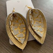 Gold Crackle Double Petal Leather Earrings