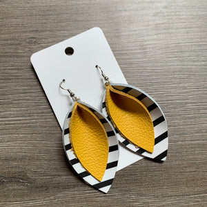 Black and White and Yellow Double Petal Leather Earrings
