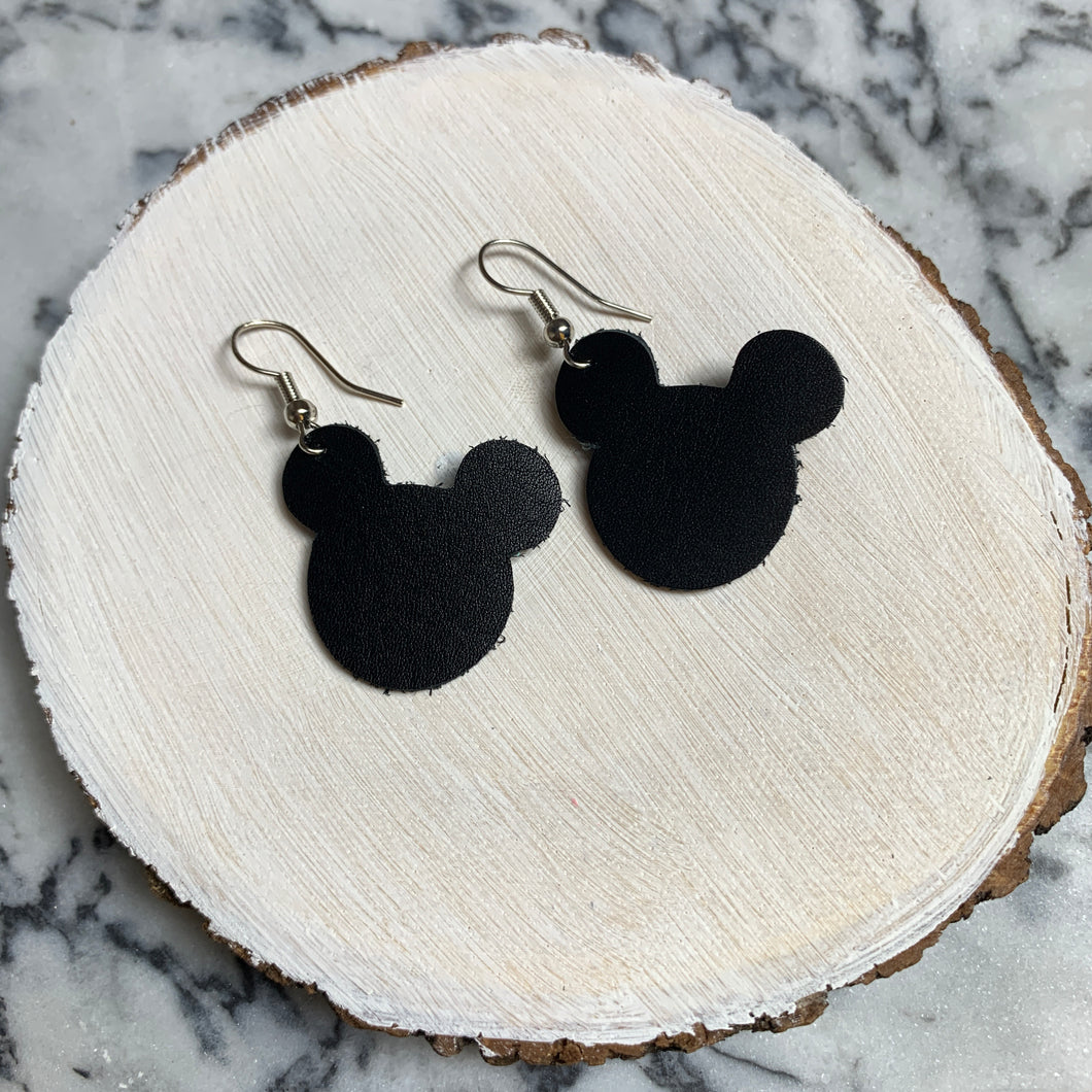 Classic Black Mouse Silhouette Leather Earrings