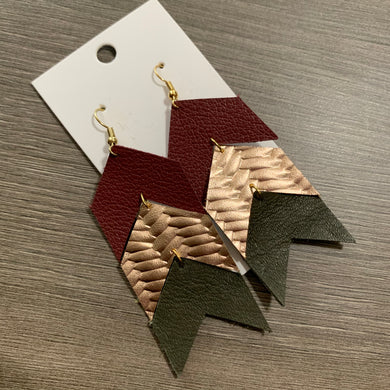 Fall Triple Chevron Leather Earrings