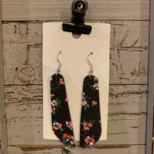 Black Floral Oblong Leather Earrings