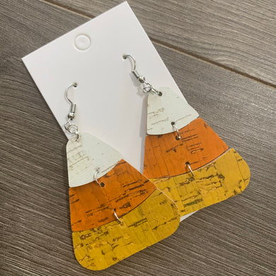Candy Corn Cork Leather Earrings