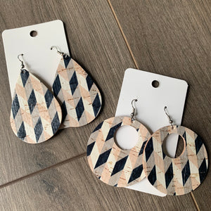 Neutral Geo Cork Leather Earrings