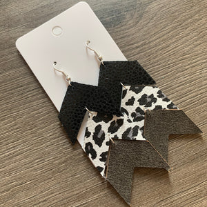 Triple Chevron Black Gray White Leopard Leather Earrings
