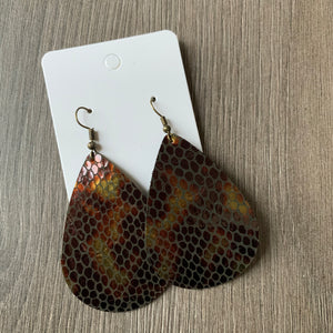 Snakeskin Teardrop Leather Earrings