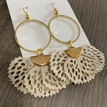 Cream Fabric and Brass Drop Earrings