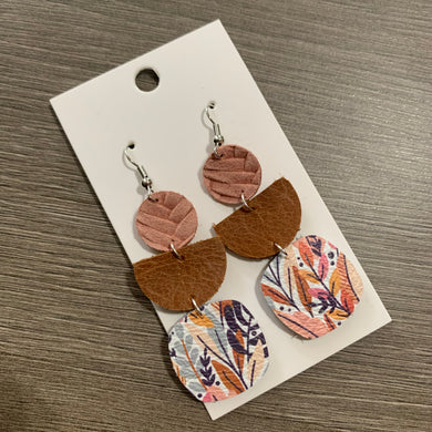 Fall Floral Drop Leather Earrings