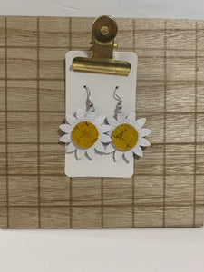 Daisy Flower Leather Earrings