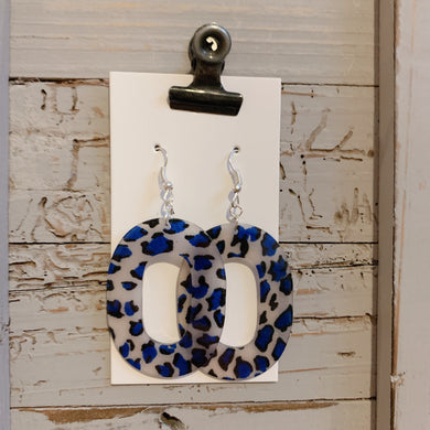 Blue Animal Print Acrylic Drop Earrings
