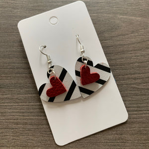 Small Striped Red Heart Valentine Leather Earrings