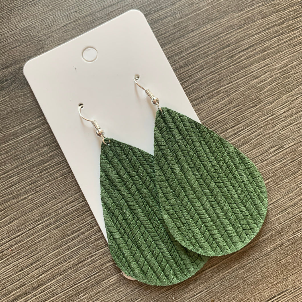 Sage Green Textured Teardrop Leather Earrings