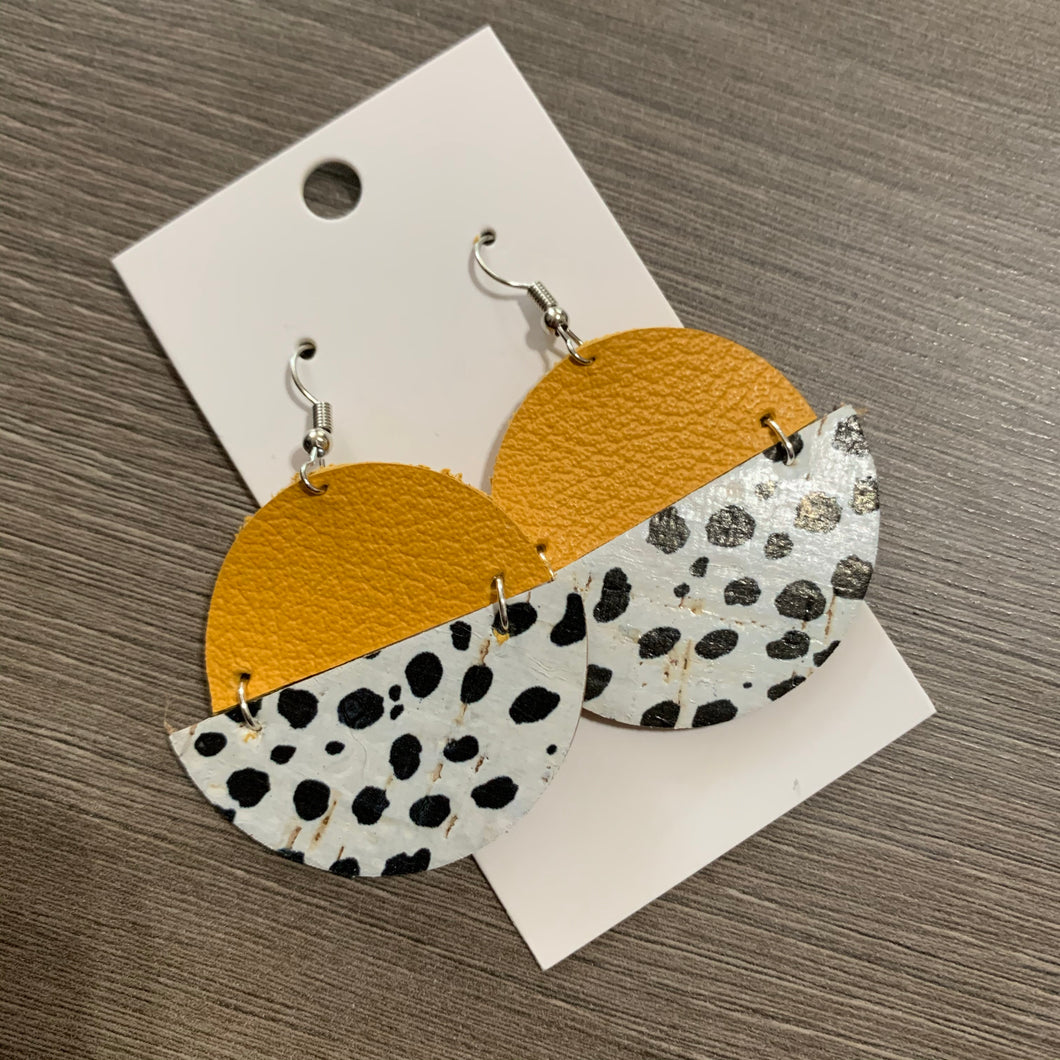 Yellow Dalmatian Circle Drop Leather Earrings