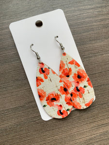Poppy Small Teardrop Cork Leather Earrings