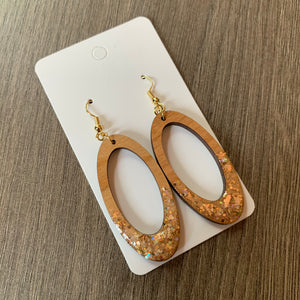 Wood Oval Sparkle Earrings