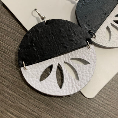 Black and White Split Circle Leather Earrings
