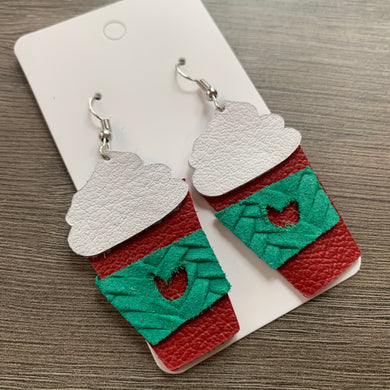 Christmas Coffee Leather Earrings