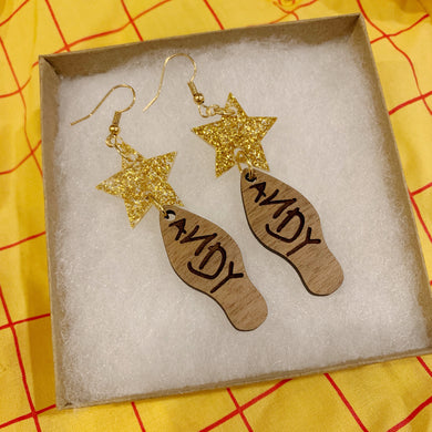 Andy Toy Inspired Acrylic and Wood Earrings