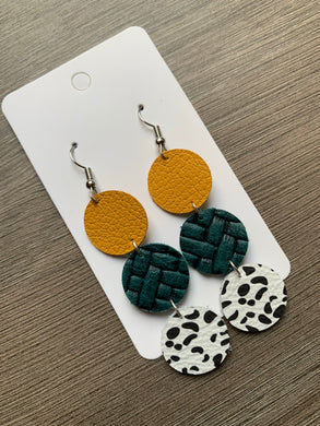 Mustard Teal Circle Drop Leather Earrings