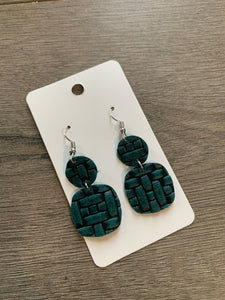 Small Teal Woven Drop Leather Earrings