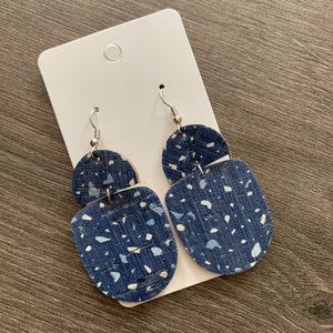 Blue Terazzo Drop Cork Leather Earrings