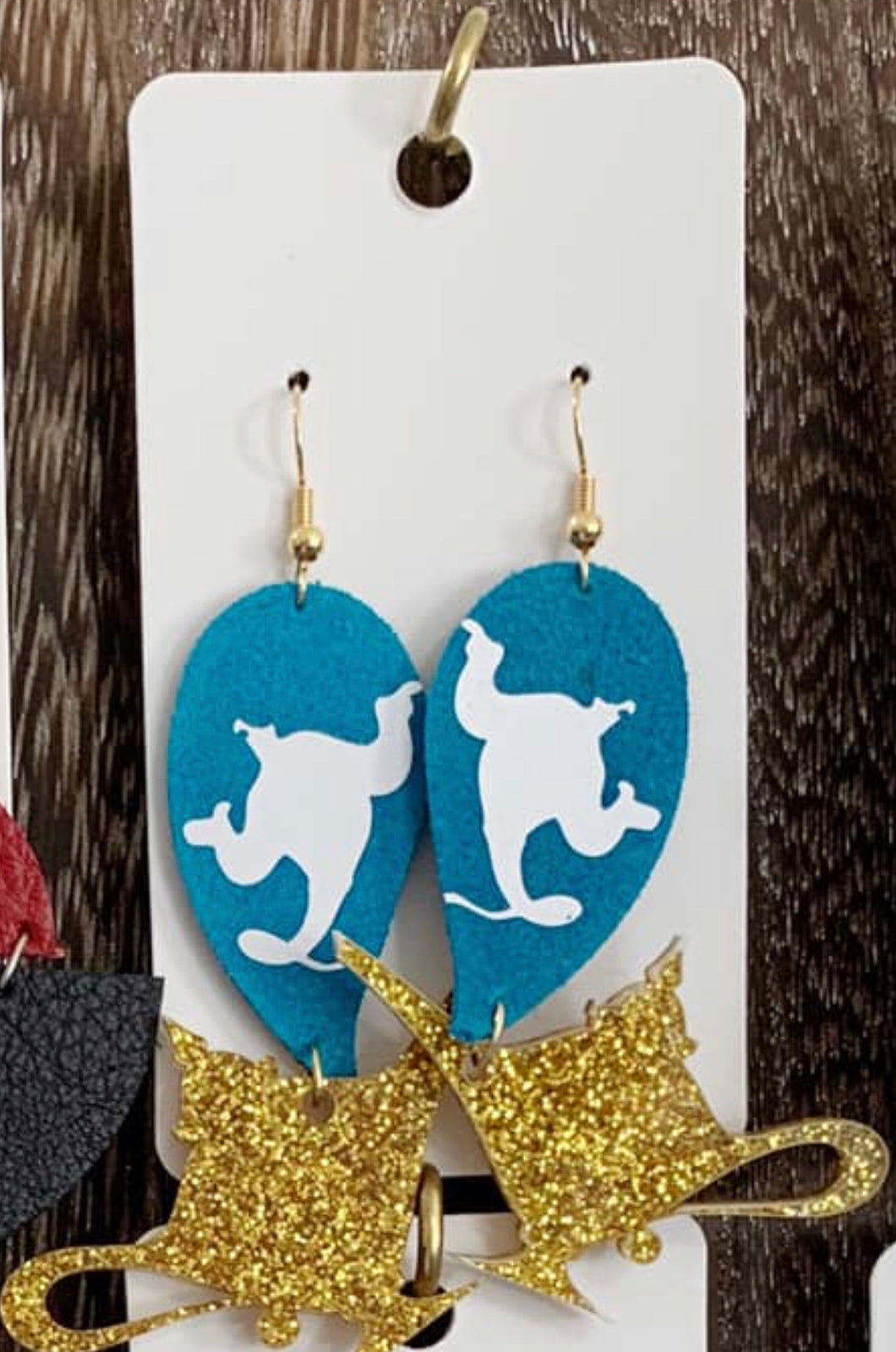 Genie Lamp Leather and Acrylic Earrings