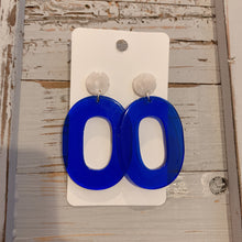 Blue and White Acrylic Drop Earrings